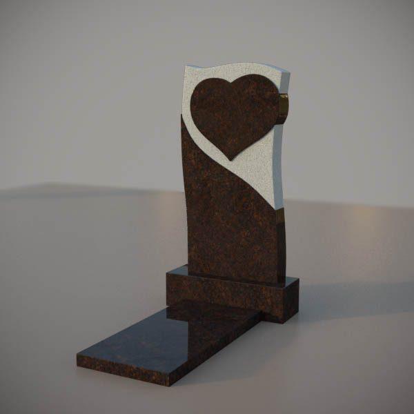 Памятник на могилу из дымовского гранита c резным сердцем DVS005