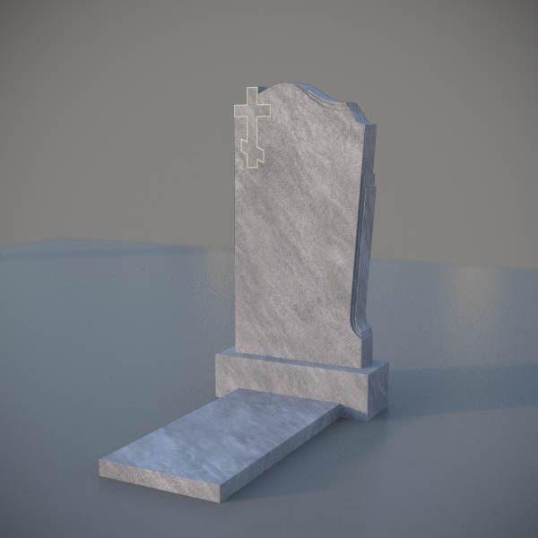 Мраморный памятник на могилу с резным крестом MVK001