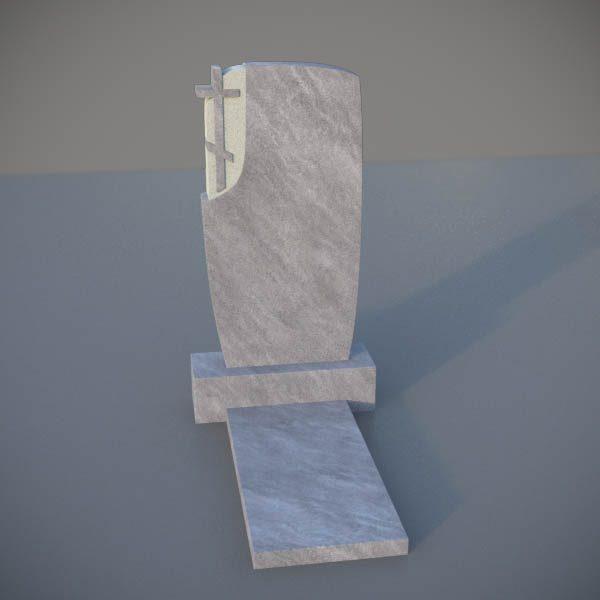 Мраморный памятник на могилу с резным крестом MVK008-2
