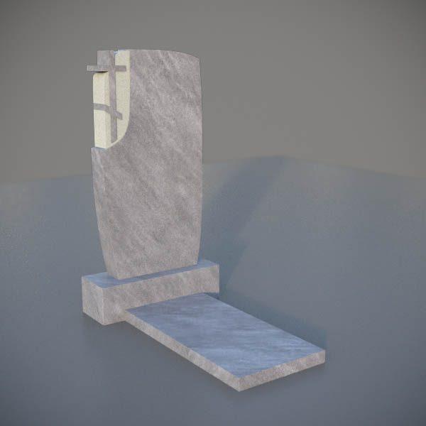 Мраморный памятник на могилу с резным крестом MVK008-3