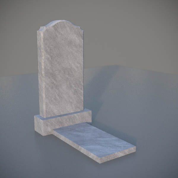 """Мраморный памятник на могилу с резной формой """"Полуовал с плечиками"""" MVA005-3"""