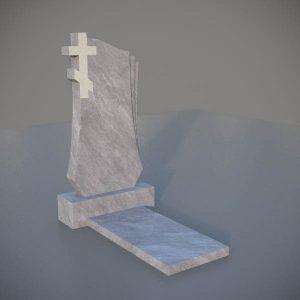 Мраморный памятник на могилу с резным крестом MVK009-3