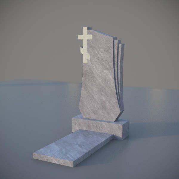 Мраморный памятник на могилу с резным крестом MVK009