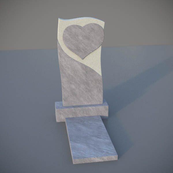 Мраморный памятник на могилу с резным сердцем MVS005-2