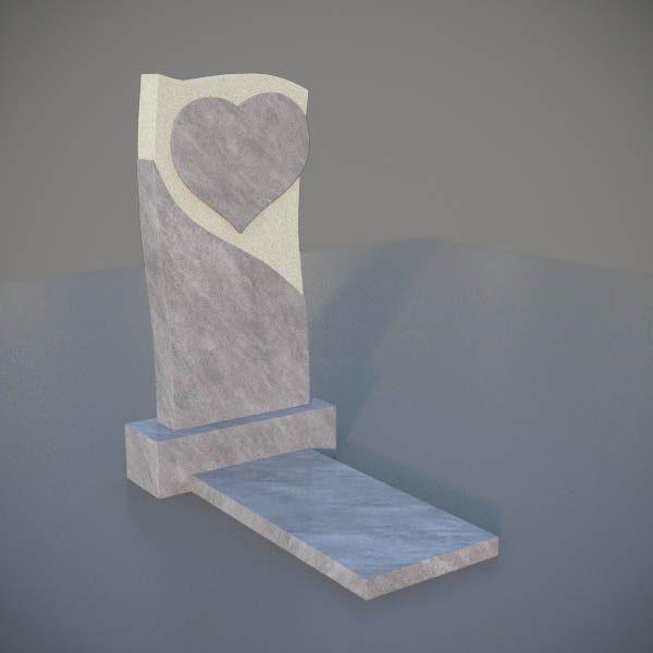 Мраморный памятник на могилу с резным сердцем MVS005-3