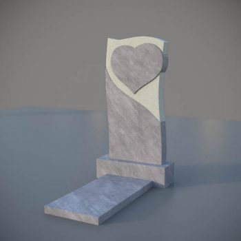 Мраморный памятник на могилу с резным сердцем MVS005