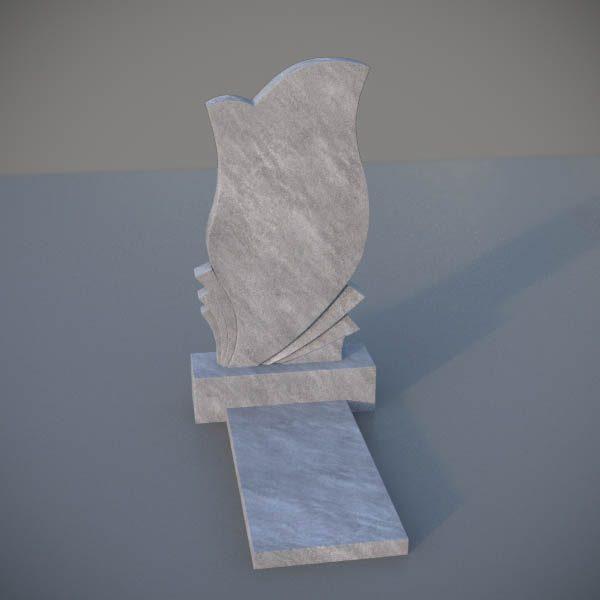 """Мраморный памятник на могилу с резной формой """"Тюльпан"""" MVT014-2"""
