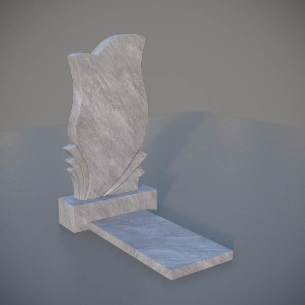 """Мраморный памятник на могилу с резной формой """"Тюльпан"""" MVT014-3"""
