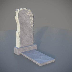Мраморный памятник на могилу с резной березой MVD002-3