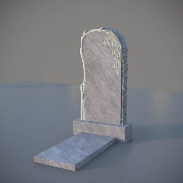 Мраморный памятник на могилу с резной березой MVD002