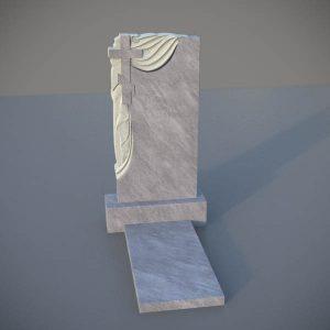 Мраморный памятник на могилу с резным крестом и плащаницей MVK006-2