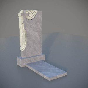 Мраморный памятник на могилу с резным крестом и плащаницей MVK006-3