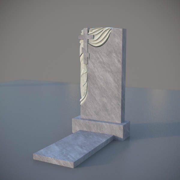 Мраморный памятник на могилу с резным крестом и плащаницей MVK006