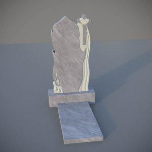 Мраморный памятник на могилу с резным крестом и свечей MVK007-2
