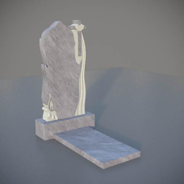Мраморный памятник на могилу с резным крестом и свечей MVK007-3
