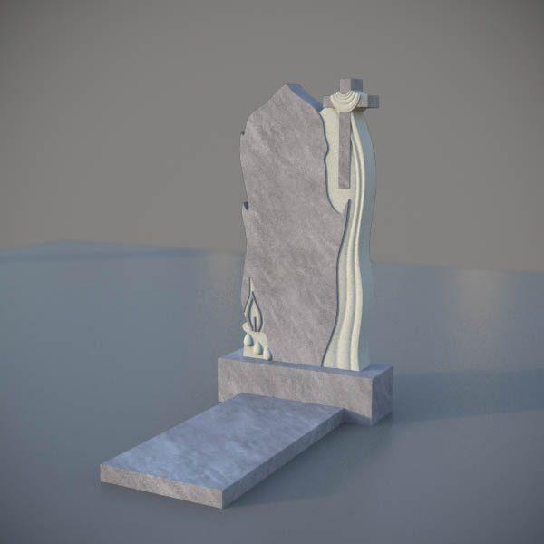 Мраморный памятник на могилу с резным крестом и свечей MVK007